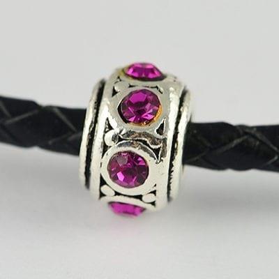 European Style Pink Crystal Studded Metal Bead - N1 18