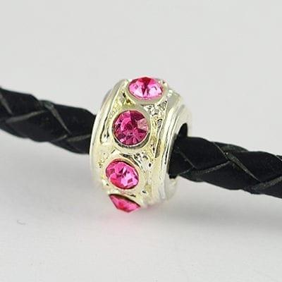 European Style Pink Crystal Studded Metal Bead - N1 19