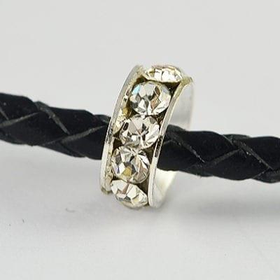 European Style Clear Crystal Studded Metal Bead - H1 10