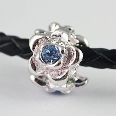 European Style Light Blue Crystal Studded Metal Bead - N1 16