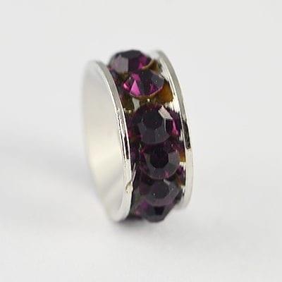 European Style Amethyst Crystal Studded Metal Bead - N1 7