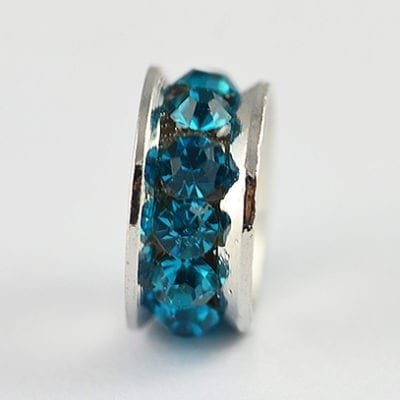 European Style Turquoise Crystal Studded Metal Bead - N1 20