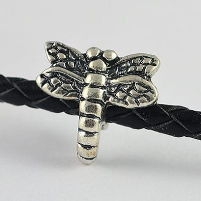 Dragonfly Design European Style Antique Silver Metal Bead - L1 18