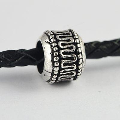 Bali Style Round European Style Silver Metal Bead - L1 11