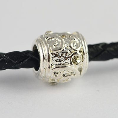 European Style Clear Crystal Studded Metal Silver Bead - H1 12