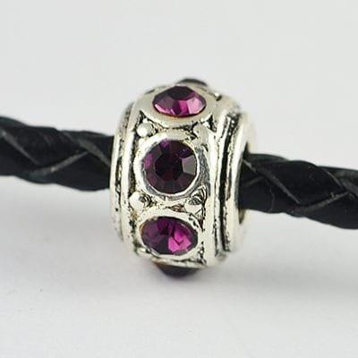 European Style Amethyst Crystal Studded Metal Bead - N1 8