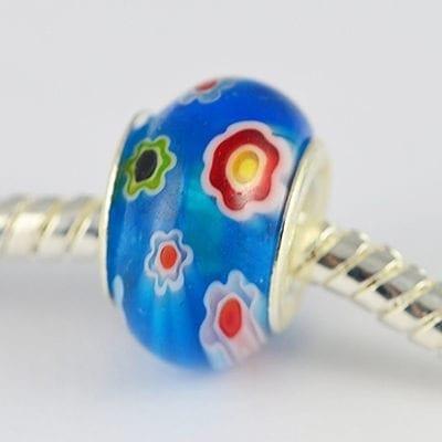 Turquoise Millefiori Glass New Season European Round Beads - M1 6