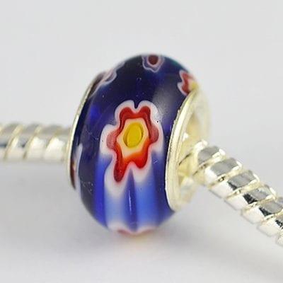 Dark Blue Millefiori Glass New Season European Round Beads - M1 2
