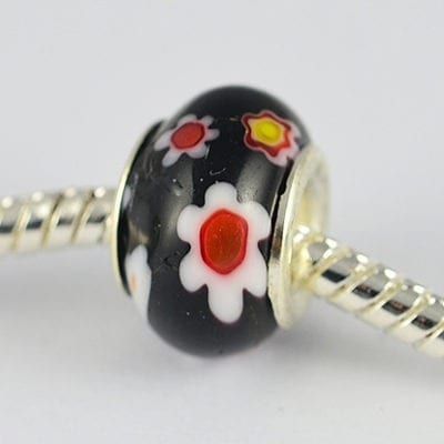 Black Millefiori Glass New Season European Round Beads - M1 1
