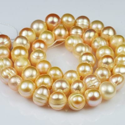 "Peach Freshwater Pearls - Potato (16"") 4"