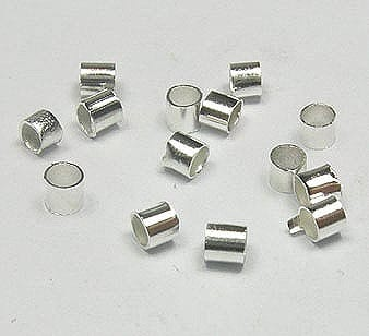 100 Tube Crimps Silver Jewelry Beads - (2.2mmX2mm) 17