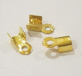 20 Gold Plated Crimped End Cord Connector - (6mmX4mm) 15