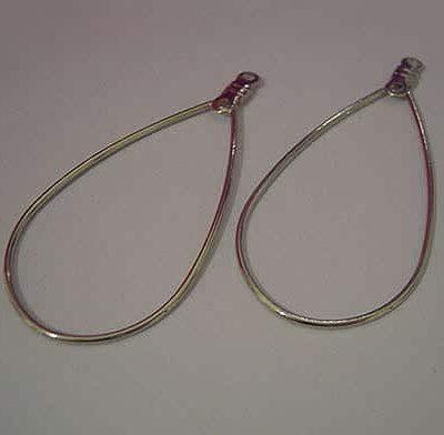 20 Oval Silver Plated Oval Earrings (20 X45mm) 15