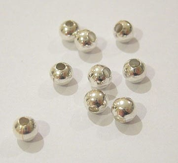 100 Tiny Silver Round Metal Beads - (2.4mm) 15