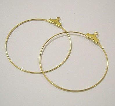 20 Gold Plated Earrings Hoops (35mm) 8