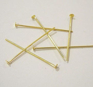 30 Gold Plated Headpins (38mm) 5