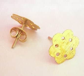 2 Gold Plated Earring Pad Post (14mm) 3