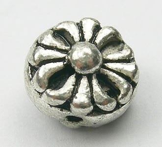 Floral Round Metal Spacer Bead - (8mmx5mm) - M27 2