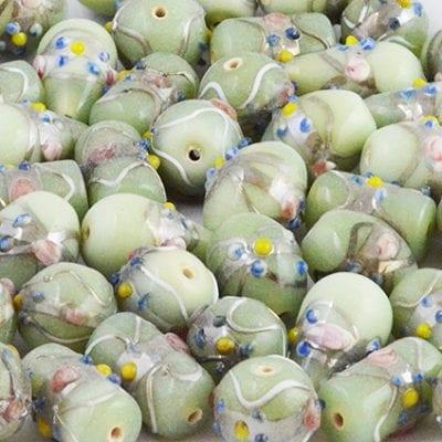 8 Light Mint Green High Quality Mix Designer Glass Beads 14