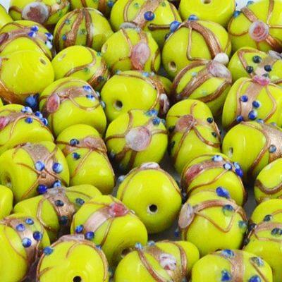 8 Yellow High Quality Mix Designer Glass Beads 18