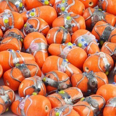 8 Orange High Quality Mix Designer Glass Beads 15