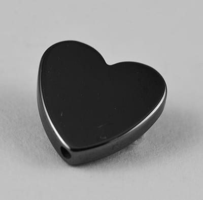 10 Flat Love Heart Shaped Hematite Non Magnetic Beads - (10mm) 13