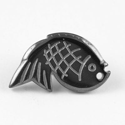 Hematite High Quality Non Magnetic Fish Pendant - (18mm) 20