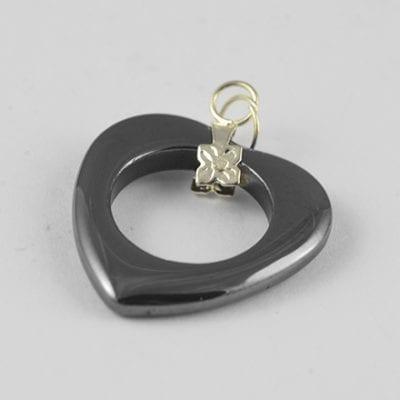 1 Large Love Heart Non Magnetic Hematite Pendant - (25mm) 9
