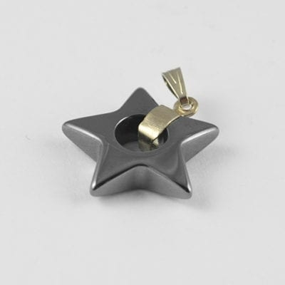 1 Star Non Magnetic Hematite Charm Pendant With Hook - (20mm) 15