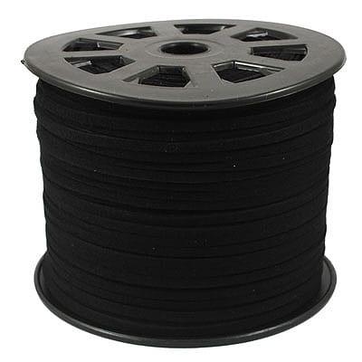 1 Meter Black Faux Suede Flat Jewellery Chord - (3mm) 3