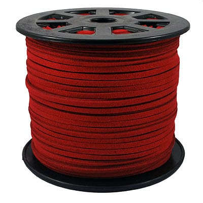 1 Meter Red Faux Suede Flat Chord - (3mm) 3