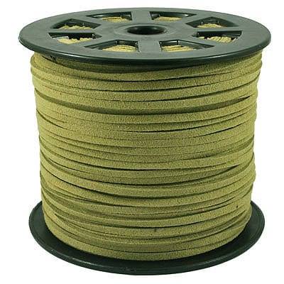 1 Meter Olive Green Faux Suede Flat Chord - (3mm) 1