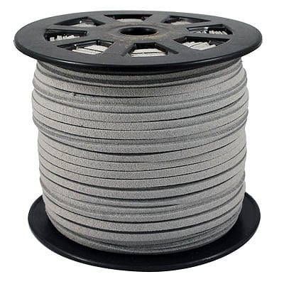 1 Meter Grey Faux Suede Flat Chord - (3mm) 9