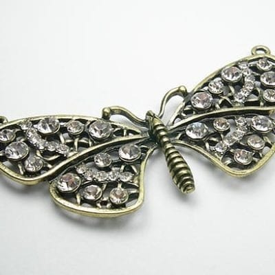 Studded Crystal Antique Bronze Butterfly Pendant 11