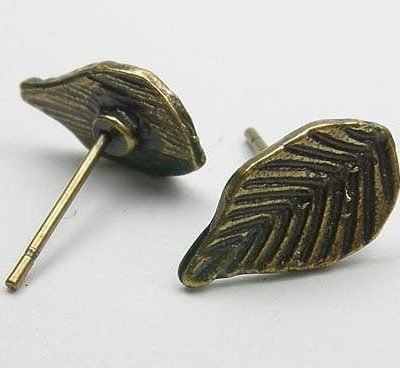 One pair Leaf Shape Antique Earring Post - (13mm) 12