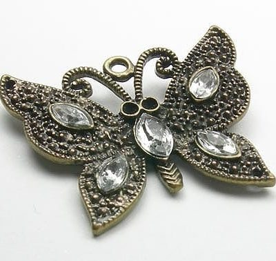 Antique Bronze Butterfly Crystal Pendant 4
