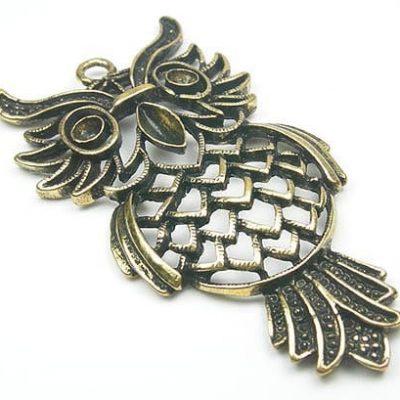 Stunning Owl Antique Bronze Metal Pendant 12