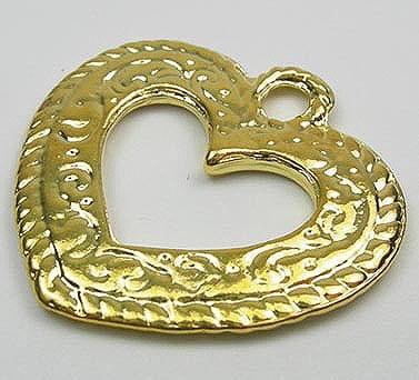 Heart Shape Golden Metal Beads 20