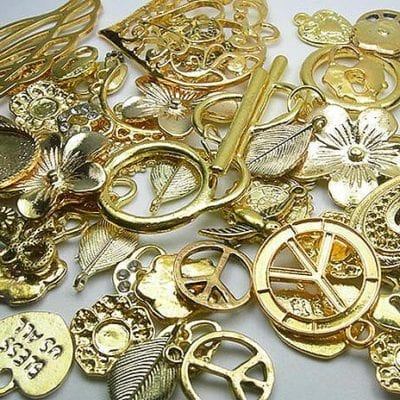 5 Gold Plated Metal Beads and Charms 9
