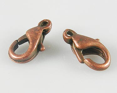 10 Red Copper Plated Lobster Hooks - (10mmx5mm) 14