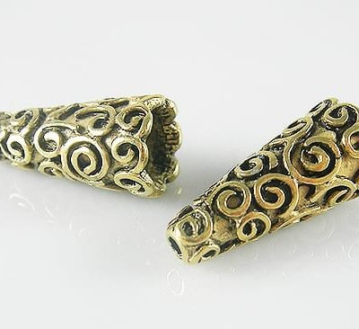 2 High Quality Golden Metal Bead Cones - (18mmx9mm) 12