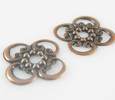 10 Light Weight Filigree Antique Copper Metal Bead - (16mm X 16m 13