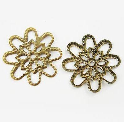 10 Light Weight Filigree Chandelier Bronze Metal Bead - (18mm) 6