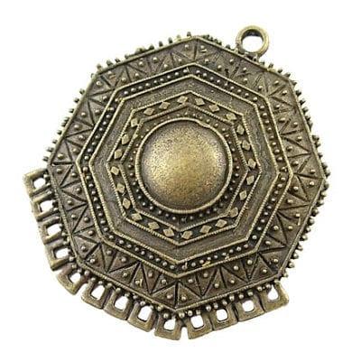 African Inspired New Bronze Pendant - (47mmx44mm) 2