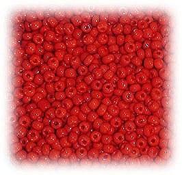 6/0 Red Matt Finish Glass Seed Beads - (10 grams) 6