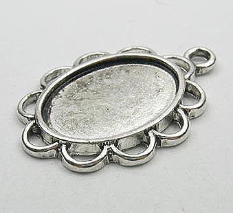 2 Oval Shaped Metal Cabochon Setting - (29mmx21mm) 12
