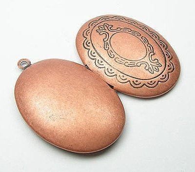 1 X Antique Style Copper Polished Locket - (40mm) 14