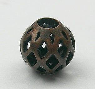 1 Bronze Mesh Metal Bead - Round (6mm) - M23 5