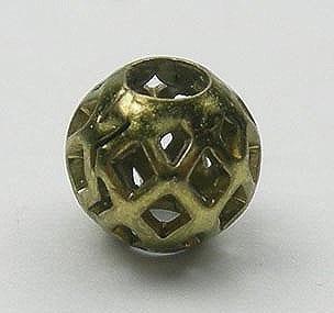 1 X Gold Mesh Metal Bead - Round (6mm) - M23 16