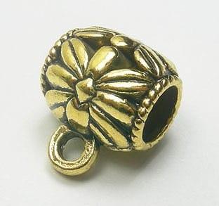 Golden Drum Pendant Metal Beads (HB15) 11